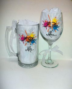 Paintball Splat Painted Wedding Glassware by kraftymamaboutique, $17.00