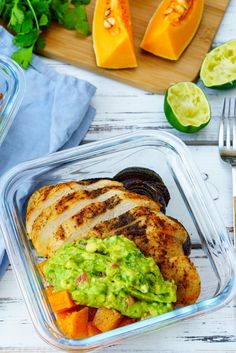Makes 4 Servings Ingredients: 2 8-ounce skinless, boneless chicken breasts 1 Tbsp smoked paprika 1 1/2 tsp sea salt 1 tsp garlic powder 1 tsp freshly ground black pepper 2 Tbsp avocado oil, or olive oil 1 medium butternut squash, cut into cubes 2 red onions, sliced into ¼-inch slices For the...