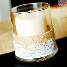 Burlap and Lace Candles | Burlap and lace candle vase