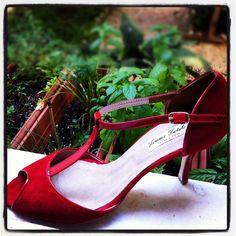 Classy red peep toe tango shoe