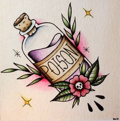 Original poison bottle tattoo flash done with watercolor on watercolor paper. Future Tattoos, Love Tattoos, Body Art Tattoos, Arabic Tattoos, Arabic Henna, Makeup Tattoos, Tattoos Mandala, Tattoos Geometric, Henna Tattoos