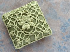 Linen  pincushion  crochet motif by namolio on Etsy, $15.00