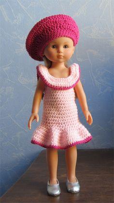 Patron robe et béret au crochet pour poupées Chérie ou Paola Reina