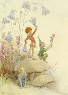 'Heatherbells and Harebells' - Three pixies on toadstools.