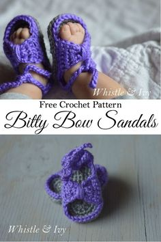 Scroll down for written pattern Free Crochet Pattern - Bitty Bow Baby Sandals. Adorable spring and summertime booties for baby! Crochet Baby Sandals, Crochet Shoes, Knit Or Crochet, Crochet For Kids, Crochet Clothes, Free Crochet, Crochet Granny, Tricot D'art, Baby Slippers