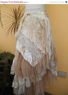 "SALEJOJOSALE vintage inspired extra shabby wrap skirt/shawl...a work of art 44""  across plus ties.."