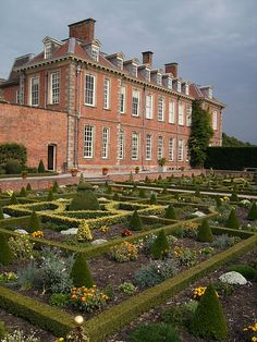 Hanbury Hall, Worcestershire, England: parterre garden viewed from terrace by long gallery.