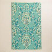 4'x6' Blue and Ivory Goddess Rio Indoor-Outdoor Floor Mat