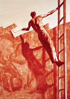 Mark Tansey, Triumph Over Mastery II, 1987 Oil on canvas, 971⁄4 x 68 1⁄4 inches. Follow #MarkTansey Pins on Pinterest, curated by Joseph K. Levene Fine Art, Ltd. | JKLFA.com | http://pinterest.com/jklfa/mark-tansey/