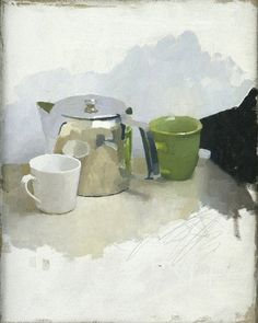 Diarmuid Kelley works | Offer Waterman  NOT FOR ALL THE TEA IN CHINA, 2002 oil on canvas 19 3/4 x 15 3/4 inches 50.1 x 39.9 cm
