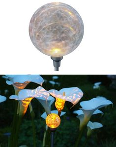 Solar Powered Globe Light Stand. These lights collect sunlight all day, convert it to energy, and store it to light the LED at dusk.