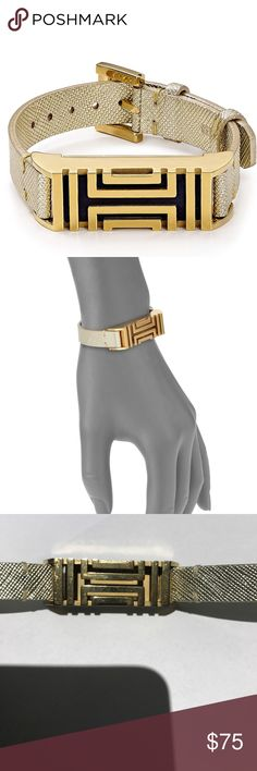 "Tory Burch Fit Bit Bracelet In Gold 9.25"" length .46"" width  genuine leather  very minor wear  actual Fitbit not included Tory Burch Jewelry Bracelets"