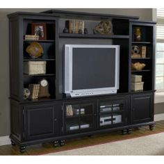 """Check out the Hillsdale Furniture 6123SEC Grand Bay 94-3/4"""" Entertainment Console in Black priced at $1,264.00 at Homeclick.com."""