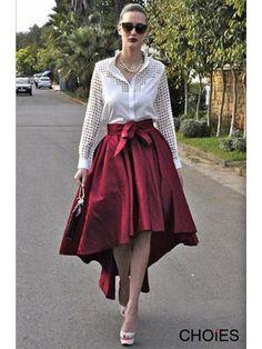 Love Love LOVE!  Elegant Limited Edition Burgundy Red Whispering Secrets Virtuosity High Low Skirt #Elegant #HiLo #Red Wine #White #Party #Skirt #Fashion