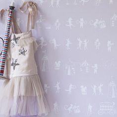 Hibou Home Wallpaper: Animal Parade in Chalk Pink & White : Just Kids Wallpaper