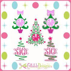 Christmas Trees Monogram Frames Cut Files SVG / by CuttableDesigns