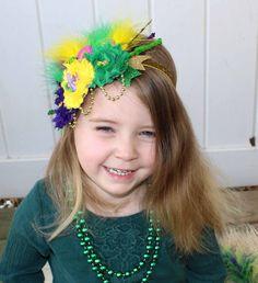 Shabby Chic Mardi Gras Feather Headband, New Orleans Mardi Gras Doubloon, Medallion Headband, Toddler Headband, Adult Headband, Photo ProP by LaBandeauxBowtique on Etsy