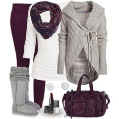 tunic leggings cardi scarf boots grey white purple