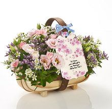 Whatever the occasion, they'll be tickled pink by this oh-so thoughtful flower-filled trug. And whatever you want to say, we'll print it onto a unique swing tag and attach with our pretty Flowercard satin ribbon.