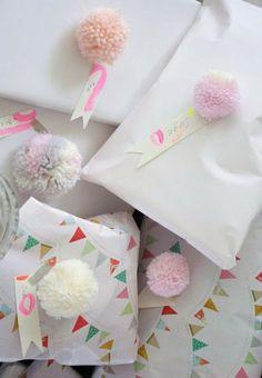 pom pom gift wrap accents, love!