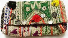 Multi Green Boho Gypsy tribal Hippie Ethnic Vintage Banjara clutch cotton purse