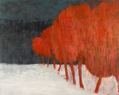 """Michael Ryan (American, b. 1953) Landscaoe in Red, Black nd White 2006 oil on canvas 43x53"""""""