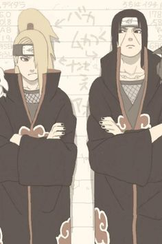 Itachi and Deidara. In the anime they are never together but this is somehow cute. I love them both! :)