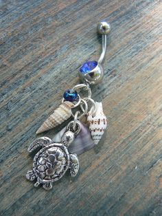 seashell and sea turtle belly ring sea turtle by gildedingypsy