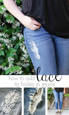 Fashion Fix: How to add lace to holes in jeans in under 30 minutes. #ohsofamous #sponsored