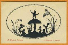 """""""A Musical Evening"""" Margaret Tarrant fairy tale fantasy silhouette House Silhouette, Fairy Silhouette, Vintage Silhouette, Fairy Lanterns, Mermaid Fairy, Ceiling Art, Fairy Birthday Party, Fairytale Fantasies, Vintage Fairies"""