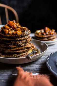 Spiced Almond Pancakes with Candied Butternut Squash + Maple Butter | halfbakedharvest.com @hbharvest