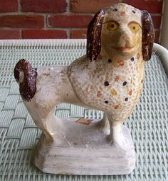 Early American Paint Decorated Chalkware Poodle Antique Dog #Americana #Unknown
