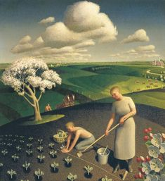 """Grant Wood   """"Spring in the country"""" (1941)."""