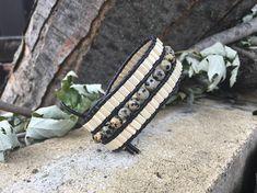 Women black leather Cuff Bracelet, beads and Dalmatian Jasper semi-precious stones.