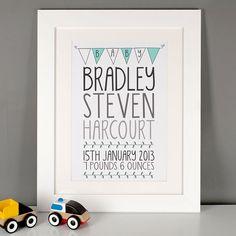 Personalised Baby Celebration Print | GettingPersonal.co.uk