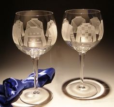 Jockey Silks Etched Red Wine Glass - (set of four) $145.00