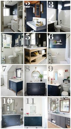Popular Navy Bathroom Decorating Ideas with Blue Walls and Vanities. Pin to your favorite bathroom board and use as inspiration for upcoming makeover projects!