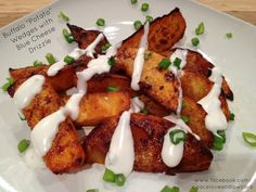 """I'm SO trying these, brilliant! Buffalo """"Potato"""" Wedges (uses Rutabagas) with Blue Cheese Drizzle via Peace, Love, and Low Carb #lowcarb #buffalowings"""