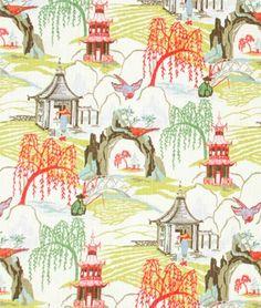 Robert Allen @ Home Neo Toile Coral Fabric - $21.75 | onlinefabricstore.net  REC ROOM