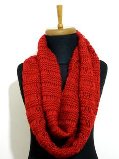 Hand Knit infinity Scarf. Block Infinity Scarf. by WomanStyleShop, $40.00