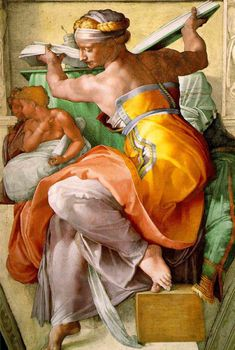 Michelangelo's Sistine Chapel features this rendering of the Libyan Sibyl - a woman doing her work with strength and grace.
