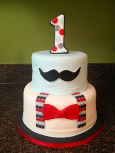 Little man mustache themed birthday cake. Cakes by Bri