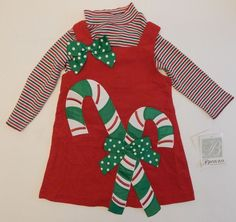 NEW Toddler Girls Bonnie Jean Christmas Dress Red Green Candy Canes Size 2T #BonnieJean #DressyHolidayPageant