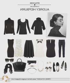 Audrey Hepburn Style - capsule wardrobe - black and white, classic easy work outfits Style Work, Mode Style, Look Fashion, Fashion Beauty, Womens Fashion, Fashion Tips, Classic Fashion Outfits, Fashion Quotes, Korean Fashion