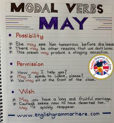 Modal Verbs May, Example Sentences - English Grammar Here English Grammar Rules, Teaching English Grammar, English Writing Skills, English Vocabulary Words, English Phrases, English Language Learning, English Lessons, Improve English Speaking, English Learning Spoken