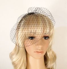 Black Birdcage Veil Wedding Blusher 9 inches by JerseyBride, $21.00