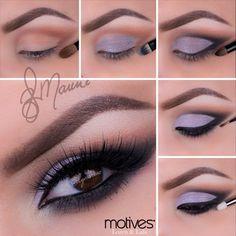 Poised Purple, purple, eye shadow, purple lipstick, little black dress, black eyeliner, eye base, motives