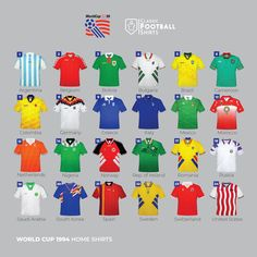 Which is the Best And Which The Worst? Here Are All 1994 World Cup Home Kits - Footy Headlines Table Football, Fifa Football, Football Kits, Sport Football, Football Jerseys, World Cup Shirts, World Cup Jerseys, Sports Jersey Design, Classic Football Shirts
