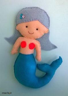 Sereia de feltro #artesanato #feltro #sereia #infantil #handmade #craft #boneca #infantil #decoração #marrispe