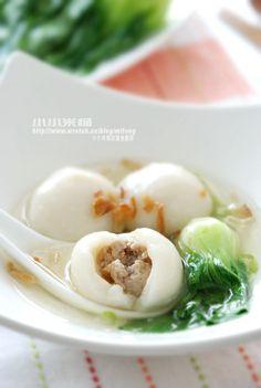 鮮肉湯圓 meat tangyuan glutinous rice balls